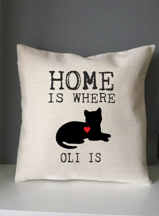Cat silhouette home is where ..... is personalised printed cushion - Fred And Bo