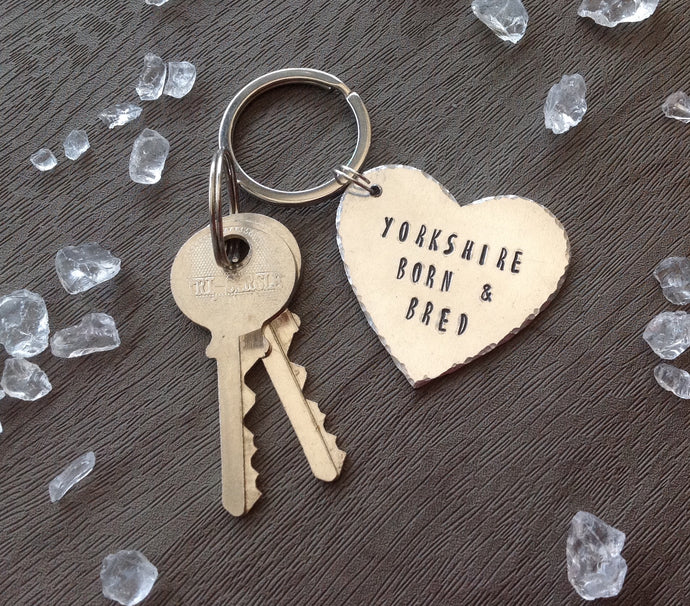 Yorkshire born and bred- Yorkshire slang - hand stamped key chain - Fred And Bo