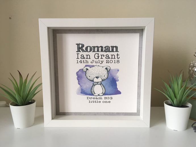 Personalised baby print - Box frame- animals - Fred And Bo