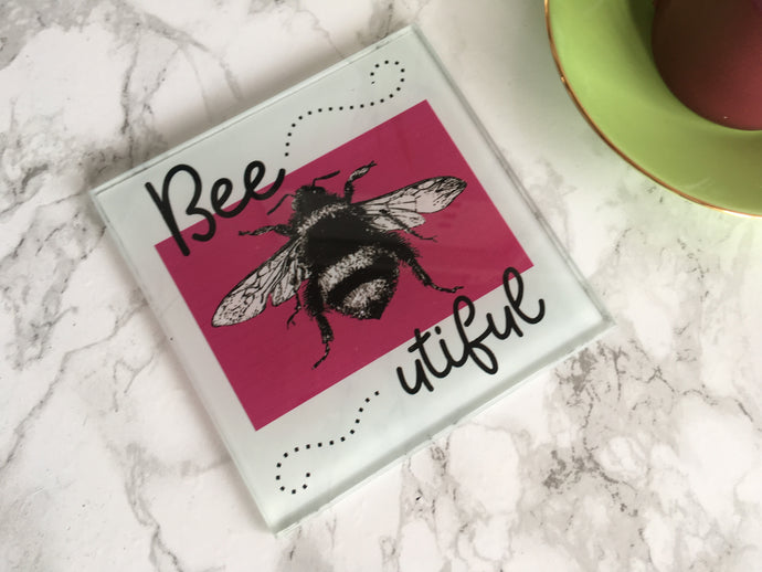 Bee-utiful - Bee sketch- printed glass coaster - Fred And Bo