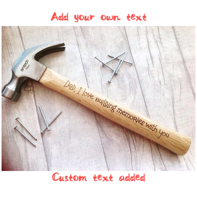 Custom text Engraved Hammer- 16oz claw hammer personalised with your own text - Fred And Bo