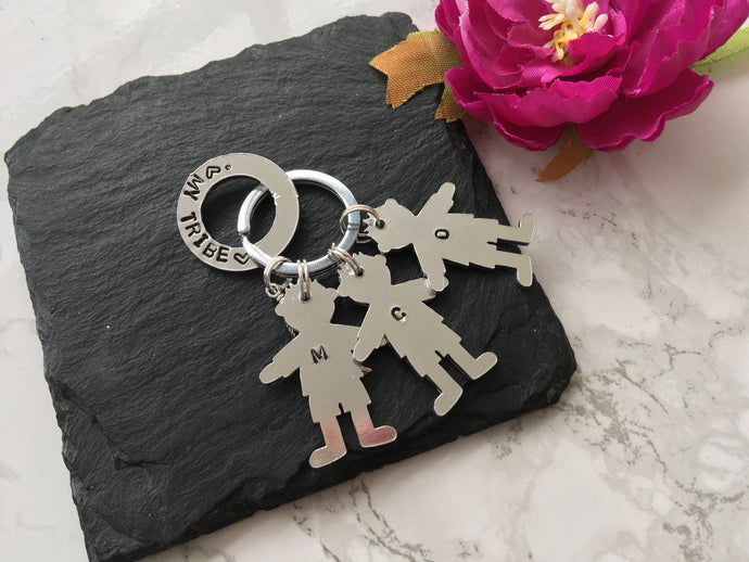 My Tribe washer and child silhouette hand stamped key ring key chain - Fred And Bo