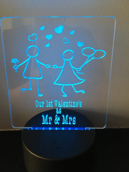 1st valentine as Mr & Mrs LED Night Light with remote control - Fred And Bo