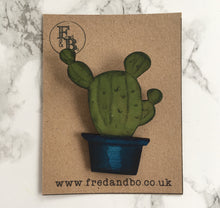 Cactus 1 - Laser cut hand painted wooden badge - Fred And Bo