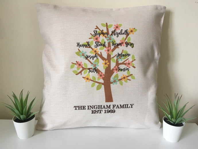 Family tree cushion pillow - personalised - Fred And Bo
