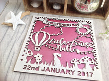 Baby Girl christening day laser cut wooden plaque - Fred And Bo