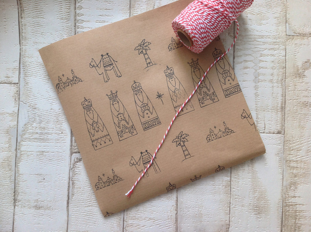 Hand stamped three kings Christmas wrapping paper - Fred And Bo
