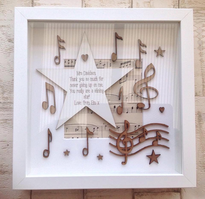 Musical note frame personalised box frame - Fred And Bo