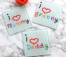 I love daddy- Father's Day- printed Glass Coaster - Fred And Bo