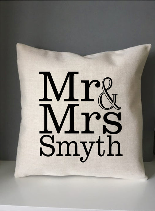Mr & Mrs personalised printed cushion - Fred And Bo