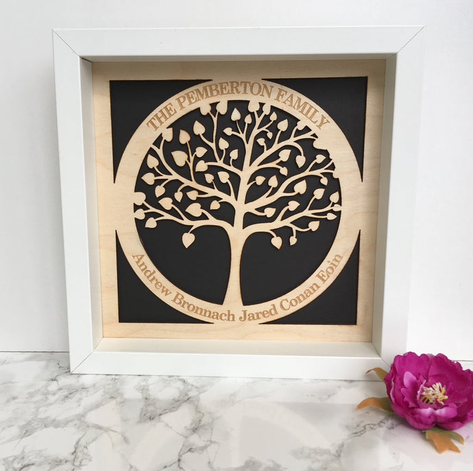 Family Tree - circle of life - plywood framed - Fred And Bo