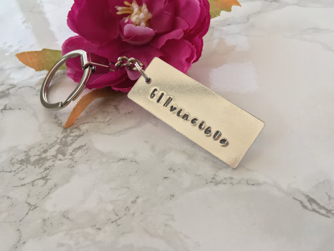 GINvincible - Gin lover- hand stamped metal key ring - Fred And Bo