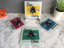 Set of four Bee sketch printed Glass Coaster