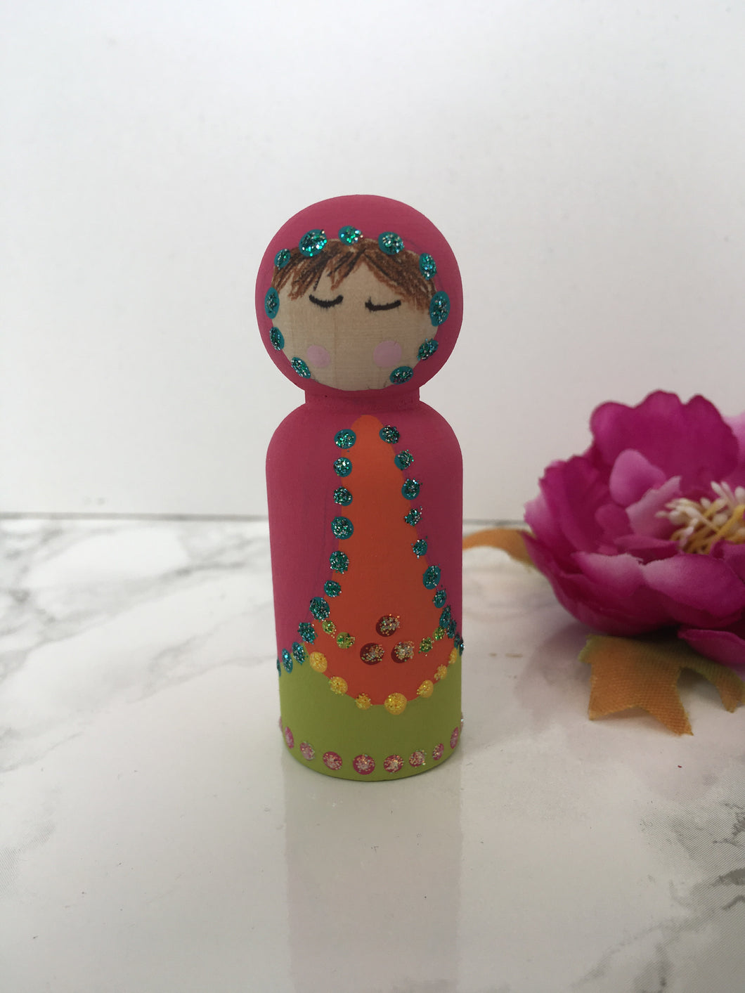 Hand painted Matryoshka style Pink Peg Doll - Fred And Bo