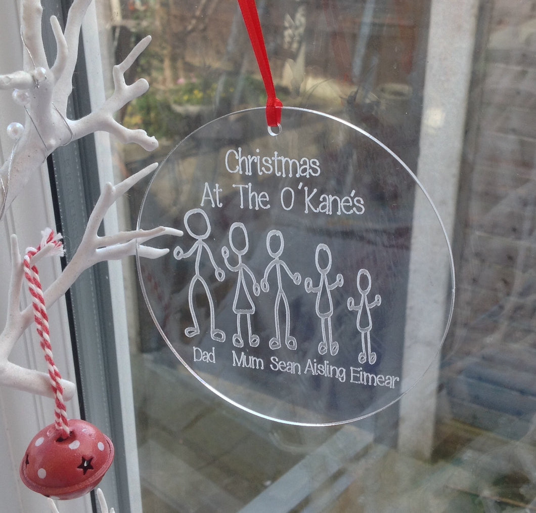 Engraved acrylic stick figure family personalised bauble - Fred And Bo