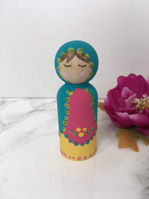 Hand painted Matryoshka style Blue Peg Doll - Fred And Bo