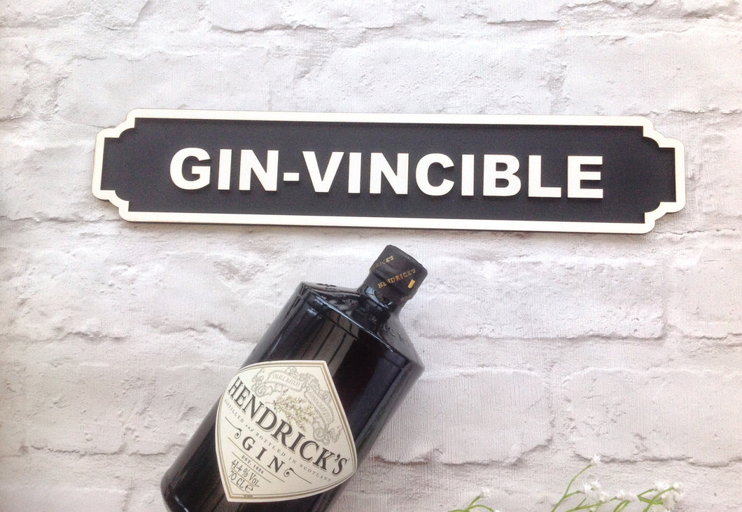 Gin-vincible Railway street sign vintage style plaque - Fred And Bo