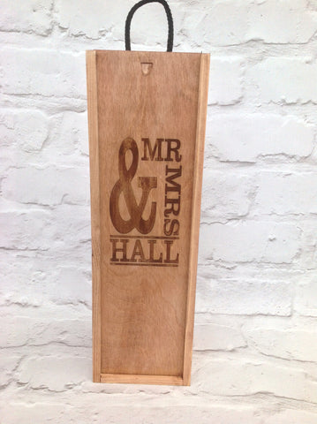 Wine box - Personalised Mr & Mrs - wedding gift - Fred And Bo