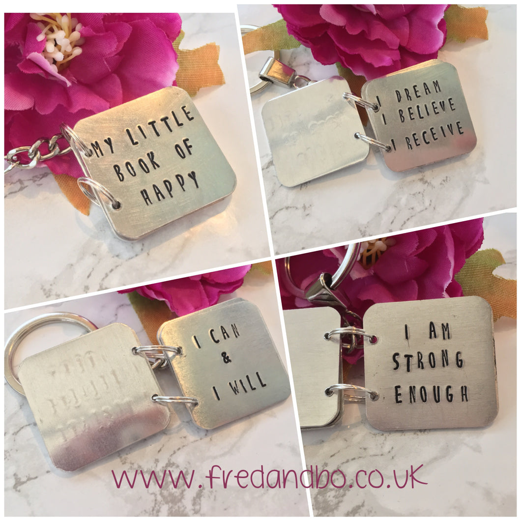 Hand stamped story book keyring - Fred And Bo