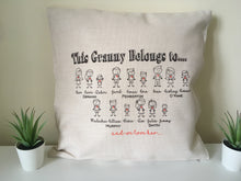 This Granny Belongs to- Stick Family cushion pillow - personalised - Fred And Bo