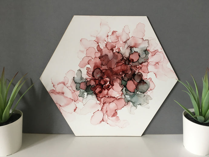 Hexagon Art- Natural lipstick and Slate -Original- Alcohol Ink - Fred And Bo