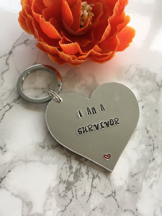 I am a survivor hand stamped metal key ring - Fred And Bo
