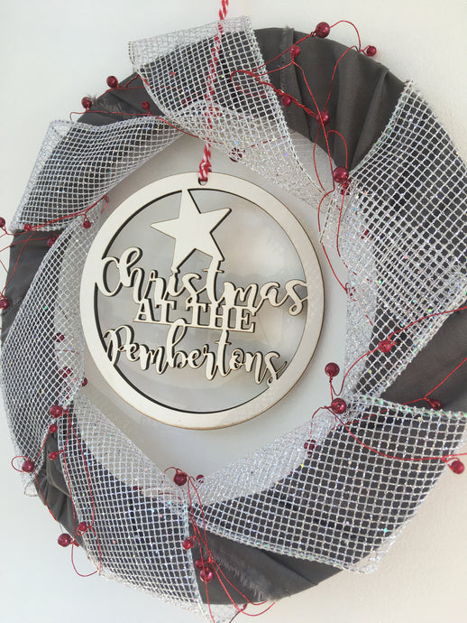 Grey, sparkle and red berry festive wreath - Fred And Bo
