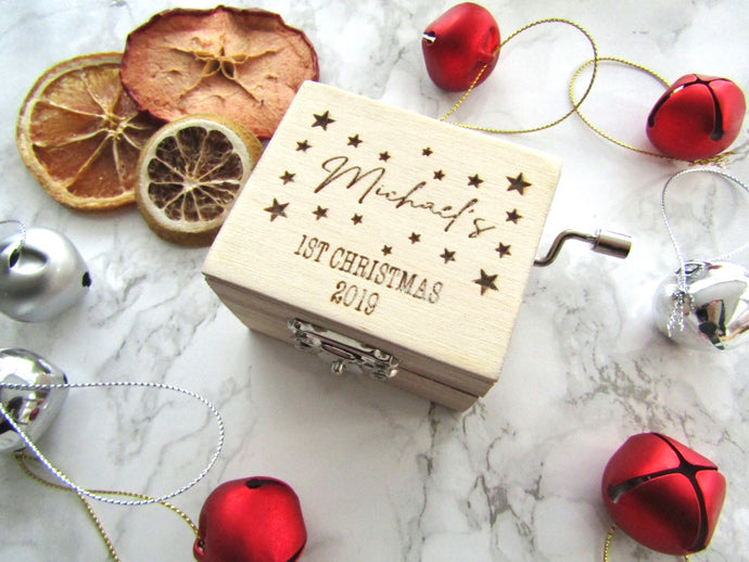 Musical wind up box- personalised 1st Christmas - Fred And Bo