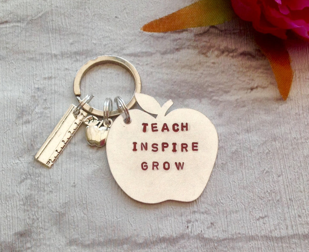 Teach Inspire Grow - Apple hand stamped metal keyring with apple and ruler charms - Fred And Bo
