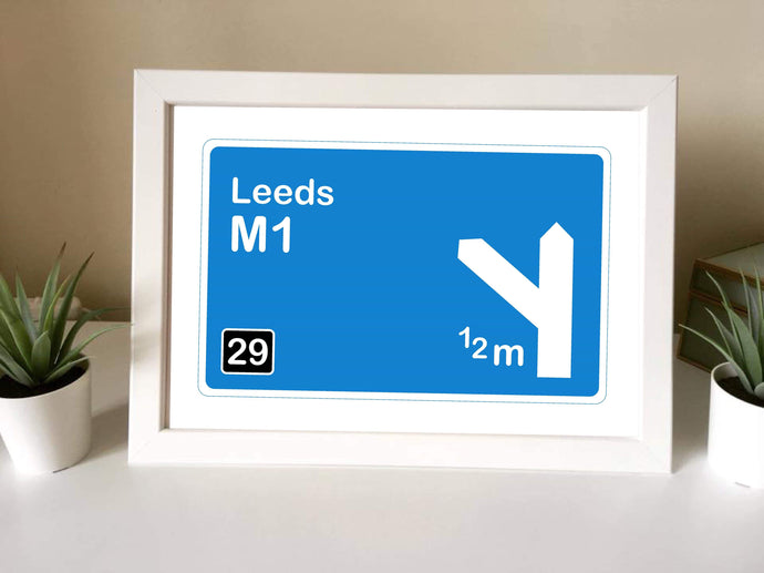 Motorway sign Leeds Framed Print - Fred And Bo