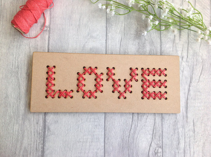 'LOVE' wood cross stitch board wall art - Fred And Bo