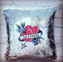 Magical sequins cushion-Valentine's - anniversary - Love heart - personalised mermaid cushion - Fred And Bo