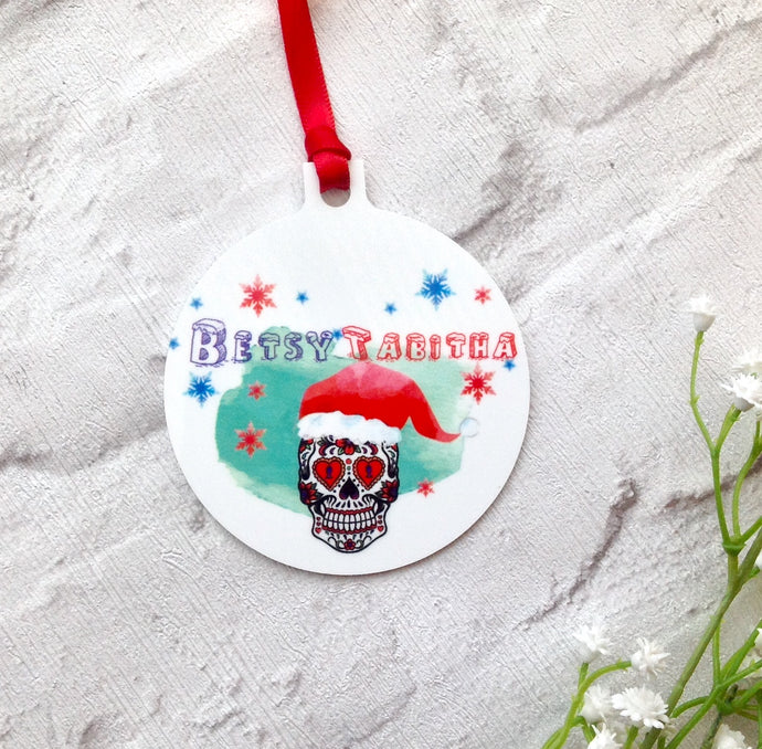 Christmas Sugar skull Personalised metal bauble - printed - Fred And Bo