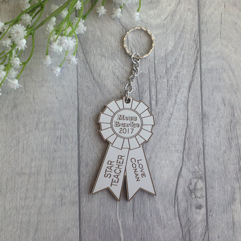 Teacher award rosette personalised keyring - Fred And Bo
