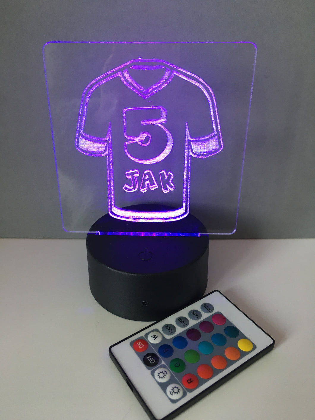 Football top Personalised Acrylic Colour Changing LED Night Light with remote control - Fred And Bo