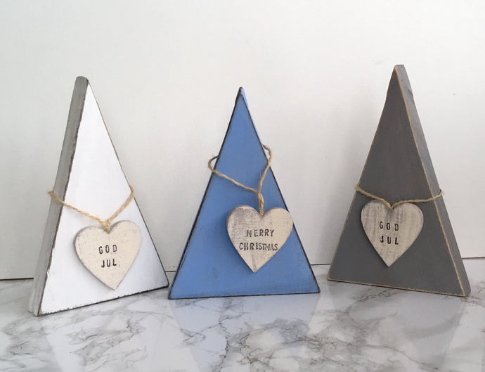 Trio set Scandinavian Style Christmas Tree- blue, Grey & white Merry Christmas - Fred And Bo