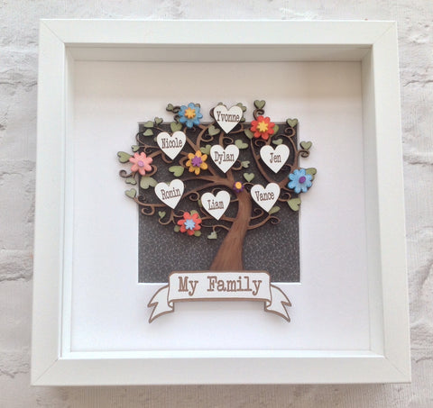 Family tree - Personalised handpainted with floral embellishments- framed - Fred And Bo