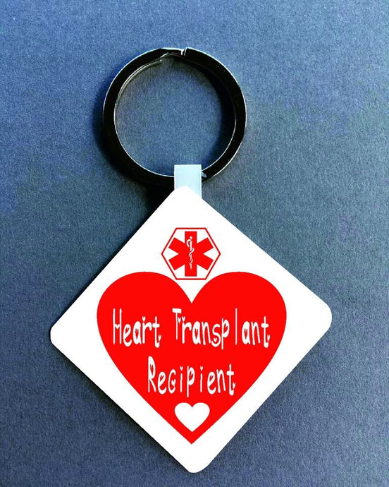 Heart Transplant recipient Medical Alert Keyring. - Fred And Bo
