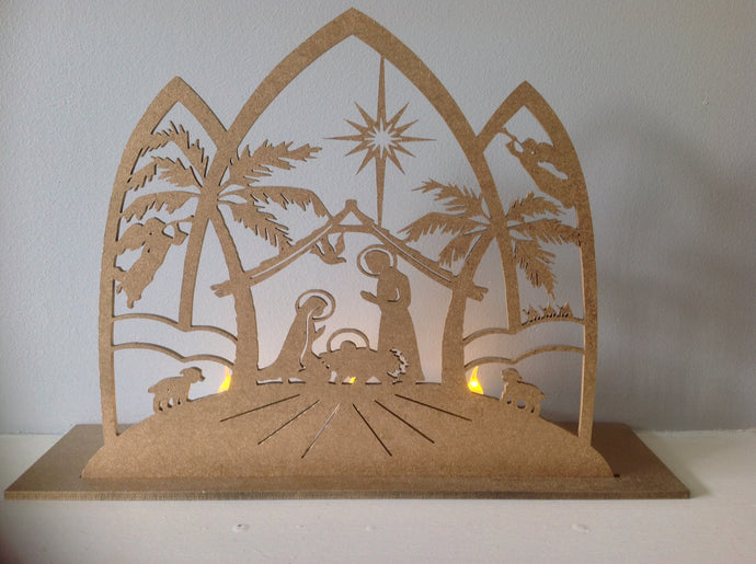 Nativity scene Christmas tea light holder - Fred And Bo