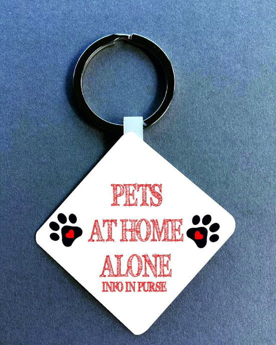Pets at home alone Medical Alert Keyring.