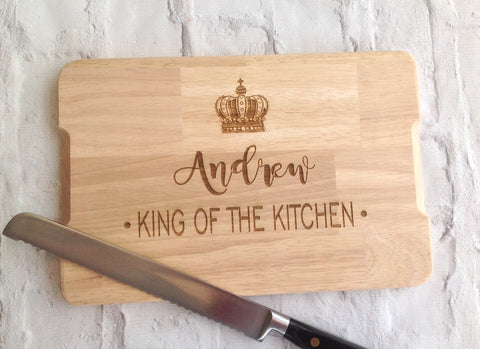 Personalised Engraved chopping board- King / Queen of the kitchen - Fred And Bo