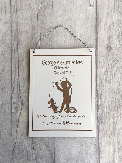 Little boy quote laser engraved plaque personalised Baptism gift - Fred And Bo
