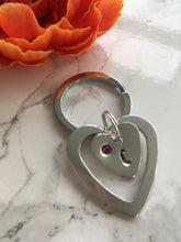 Double heart with initial and birthstone gem hand stamped metal key ring - Fred And Bo