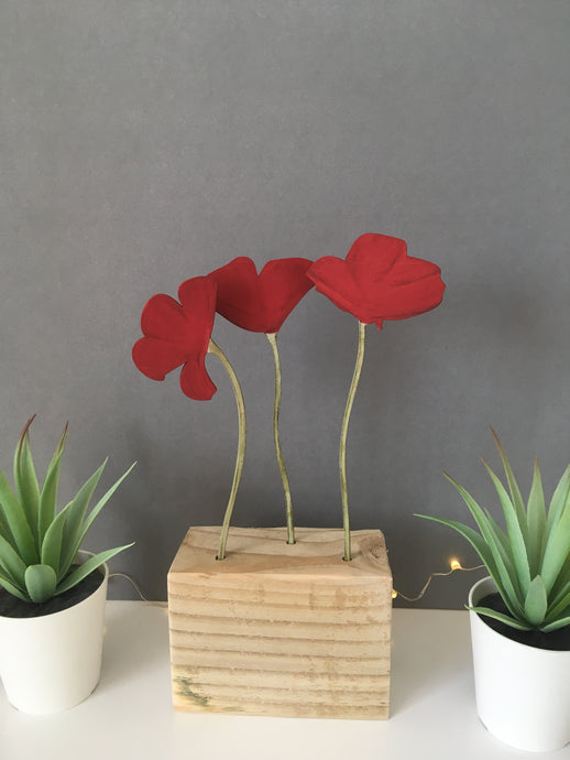 Poppy hand painted wooden flower block - medium - Fred And Bo