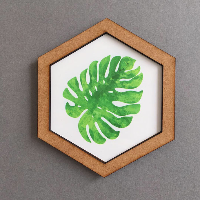 Hexagon wall art tile- palm leaf - Fred And Bo