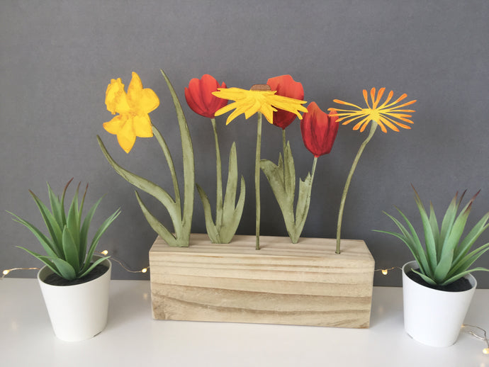 Mixed Red & Yellow Flowers Window Box - Fred And Bo