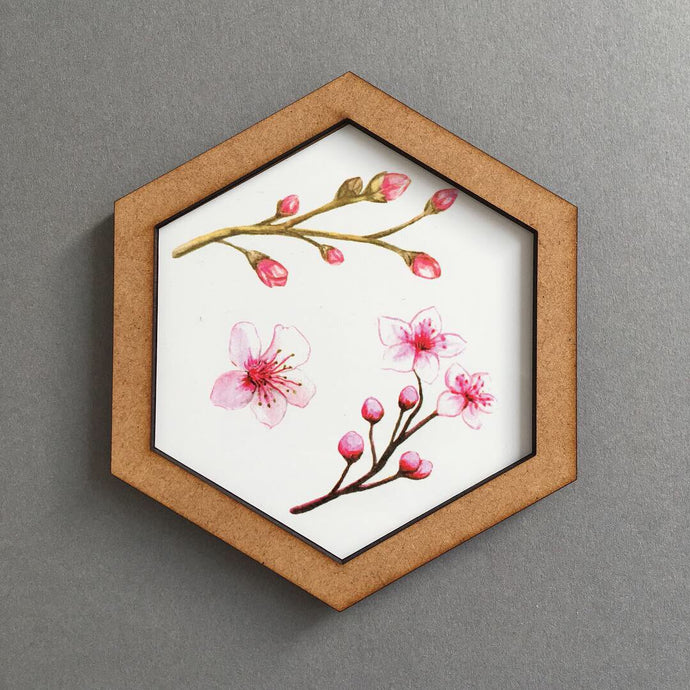 Hexagon wall art tile- cherry blossom 2 - Fred And Bo