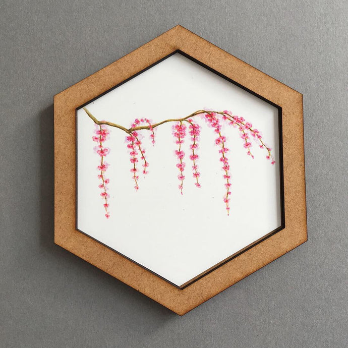 Hexagon wall art tile- cherry blossom branch - Fred And Bo