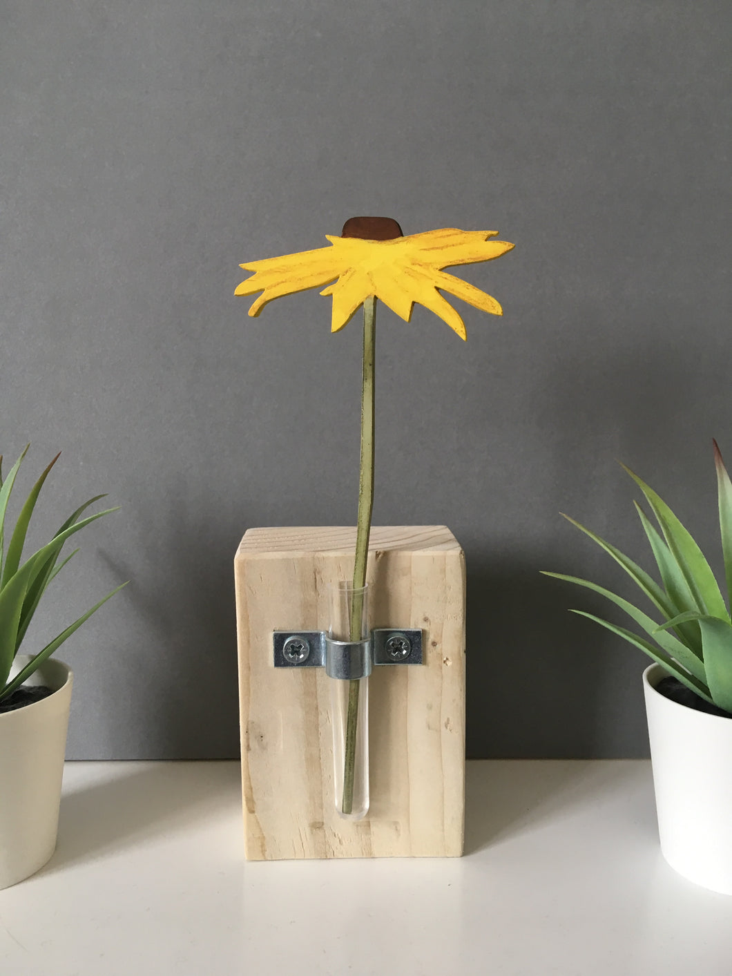 Wooden Sunflower - Flower In A Test Tube - Fred And Bo
