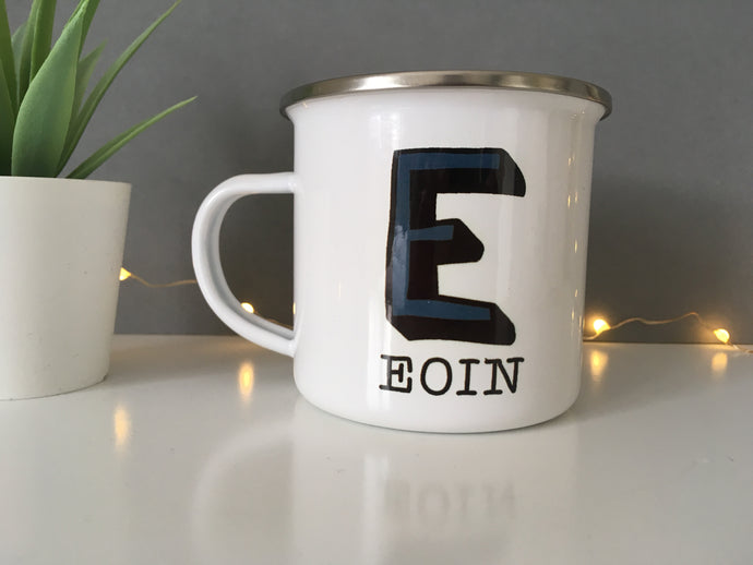 Initial Personalised Enamel Cup 12oz - Fred And Bo